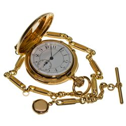 ,-,18k Gold Size 18, 1 minute Repeater Chronograph Pocket Watch with Locket and Chain