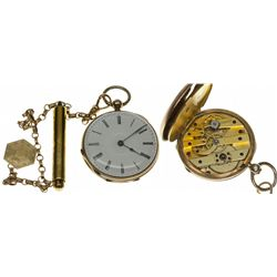,Switzerland-,3 Size Ladies 8 Jeweled Open Face Pendant Watch with Chain and Fob *Swiss*