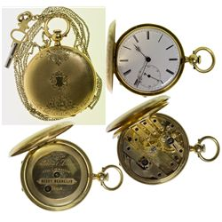 ,Switzerland - Locle-,Size 8 Henry Beguelin 15 Jeweled 18k Pocket Watch with Key and Chain