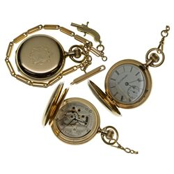 IL,Chicago-,18 Size Elgin 14k Pocket Watch with Gold Chain and Working Gun Fob