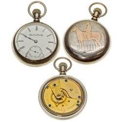 IL,Chicago-,Elgin 18 Size, 7J Coin Silver Pocket Watch