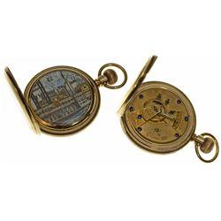 IL,Springfield-Sangamon County,G. M. Wheeler 14k Gold Fancy Dial Pocket Watch by Elgin