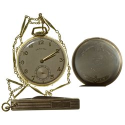 PA,Lancaster-,Hamilton 5 Position 21 Jewel Watch with Pocket Knife Fob on Chain