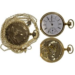 OH,Canton-Stark County,Hampden Size 6 Pocket Watch with Opal and Pearl Chain Slide