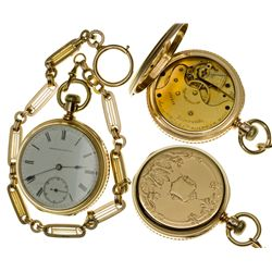 MA,Waltham-Middlesex County,Early Am. Watch Co. 11 Jewel, 10 Size Open Face Pocket Watch with Gold C