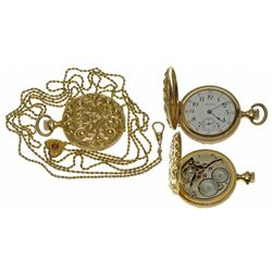MA,Waltham-,0 Size Waltham Ladies Pendant Style Pocket Watch with Gold Chain and Heart Slider
