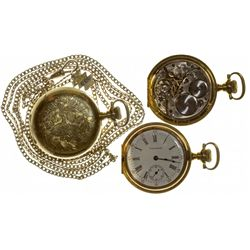 MA,Waltham-,Size 6 Ladies Waltham Pendant Pocket Watch with Turquoise Chain Slider