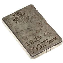 CA,San Francico-,US Mint 18.19 oz Silver Ingot