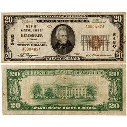 WY,Kemmerer-,$20 National Currency