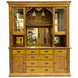 ,-,Large 1890s Oak Back Bar