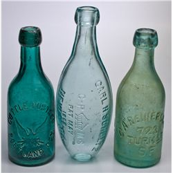 ,-,Pictorial Soda Bottles in Teal and Aqua