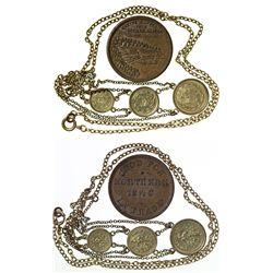 AK,Seward-,AYPE gold token necklace & Northern Saloon Token