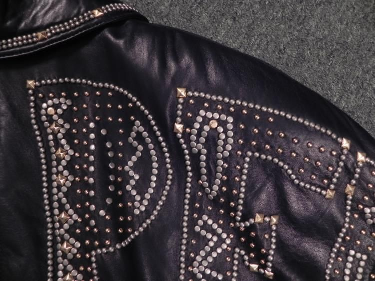 b8d455036 Marc Buchanan Pelle Pelle Black Leather Jacket Studded