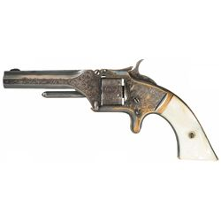 Factory Engraved Silver Plated Smith & Wesson Model Number One 2nd Issue Revolver with Pearl Grips