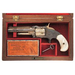 Cased Engraved Silver and Gold Plated Smith & Wesson Model 1 1/2 2nd Issue Revolver with Pearl Grips