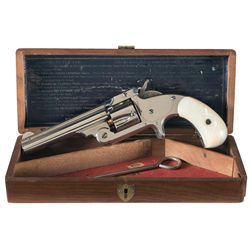 Exceptional Factory Cased Smith & Wesson Model 1 1/2 32 Centerfire Single Action Revolver with Pearl