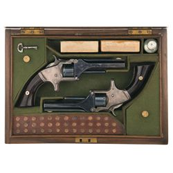 Cased Pair of Smith & Wesson Model Number 1 2nd Issue Revolvers -A) Smith & Wesson Model Number 1 2n