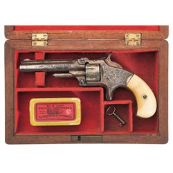 Cased Engraved Gold Smith & Wesson Model No. 1 3rd Issue Revolver with Ivory Grips