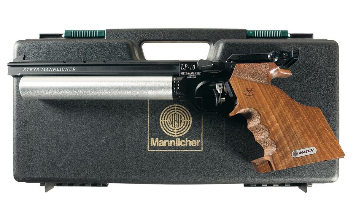 Steyr-Mannlicher Model LP-10 Single Shot Pre-Charged Air Pistol with Case  and Accessories
