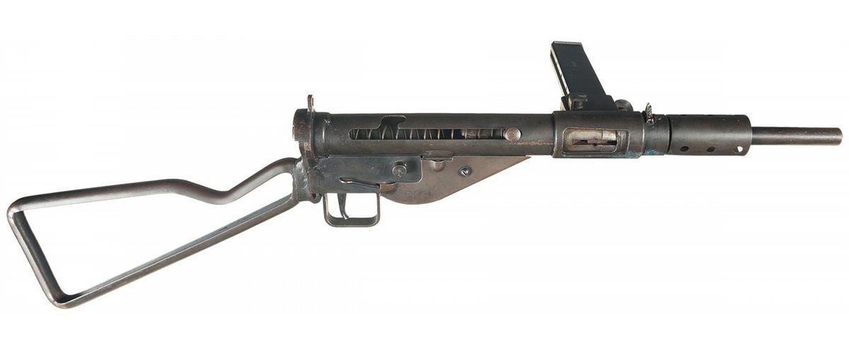 World War II British Sten Mark II DEWAT Sub-Machine Gun with Extra Magazine  and Loading Tool