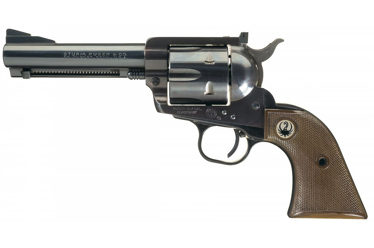Early Ruger Blackhawk Flattop 357 Magnum Single Action Revolver with Holster
