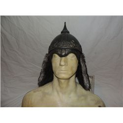 ANCIENT MONGOLIAN NORTHERN WATER TRIBE WARRIOR SCREEN USED HELMET WITH FUR FLAPS 2