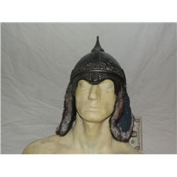 ANCIENT MONGOLIAN NORTHERN WATER TRIBE WARRIOR SCREEN USED HELMET WITH FUR FLAPS 5