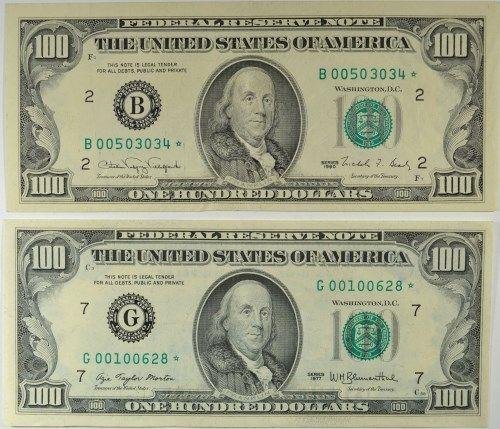 2- $100 STAR NOTES 1-1990, 1-1977 CIRC