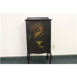 HAND-PAINTED MUSIC CABINET IN NICE CONDITION - MAHOGANY