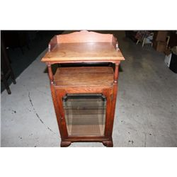 SOLID OAK BONNET TOP MUSIC CABINET WITH BEVELED GLASS