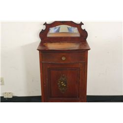 SOLID CHERRY MUSIC CABINET WITH BEVELED MIRROR, BOWED