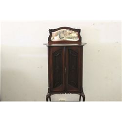 BEAUTIFUL SHEET MUSIC CABINET WITH SHAPED TOP, BOWED