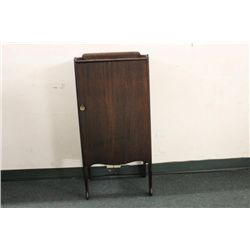 MAHOGANY SHEET MUSIC CABINET WITH FRAMED TOP AND SIX