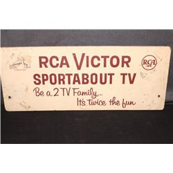 RCA VICTOR ADVERTISING SIGN ON BOARD - 29 X 11.5