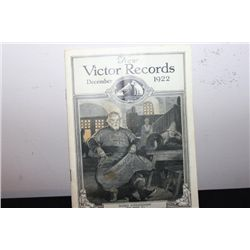GREAT 1922 DECEMBER ISSUE OF NEW VICTOR RECORDS - NEAR