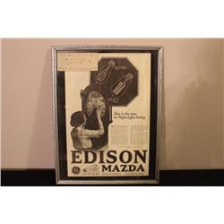 GREAT PIECE OF 1918 ADVERTISING EDISON LIGHT BULBS FROM