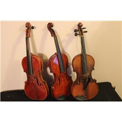 3 SOLID VIOLINS FOR PARTS OR RESTORATION