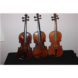3 SOLID VIOLINS FOR REPAIR OR PARTS