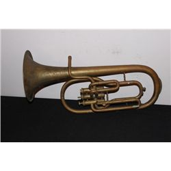 EARLY BRASS HORN BY CARL FISCHER - NO MOUTHPIECE SOME