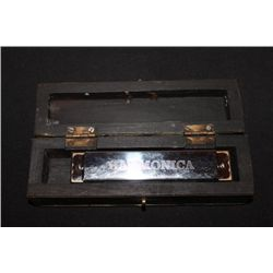 """5"""" HARMONICA IN A GREAT HANDMADE CHEST TYPE BOX MINT"""