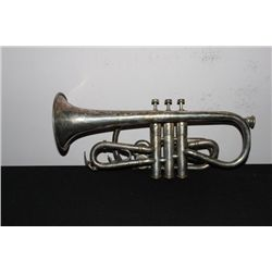 SILVERPLATED TRUMPET MADE IN IND. - SOME DENTS