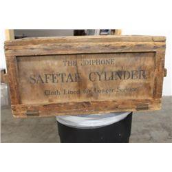 THE EDIPHONE SAFETAE CYLINDER WOODEN CASE