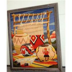 Needle Point Framed Navajo, Hopi and Zuni Items