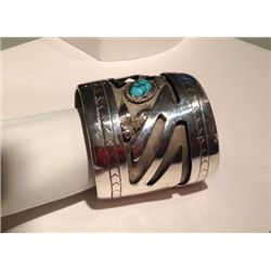 Large Sterling Silver Cuff Bracelet with Turquoise Cabochon