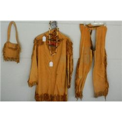 Man's Buckskin War Shirt and legging and bag and Bone and Glass Bead Necklace