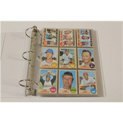 1968 TOPPS BASEBALL PARTIAL SET INCLUDES 205 CARDS OF 598 CARD SET WITH 20 HIGH NUMBERS, OVERALL IN