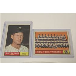 1961 NEW YORK YANKEES TEAM CARD #228 AND WHITEY FORD #160