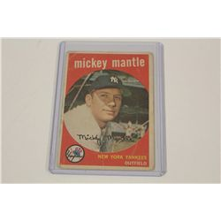 1959 MICKEY MANTLE #10- LOW GRADE, CREASED WITH BENT CORNERS