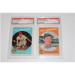1959 TOPPS RAY SEMPROCH #197 PSA GRADED 6 AND RUSS KEMMERER #191 PSA GRADED 5