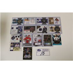 LOT OF 15 AUTHENTIC NFL AND NHL SIGNATURE AND JERSEY CARDS